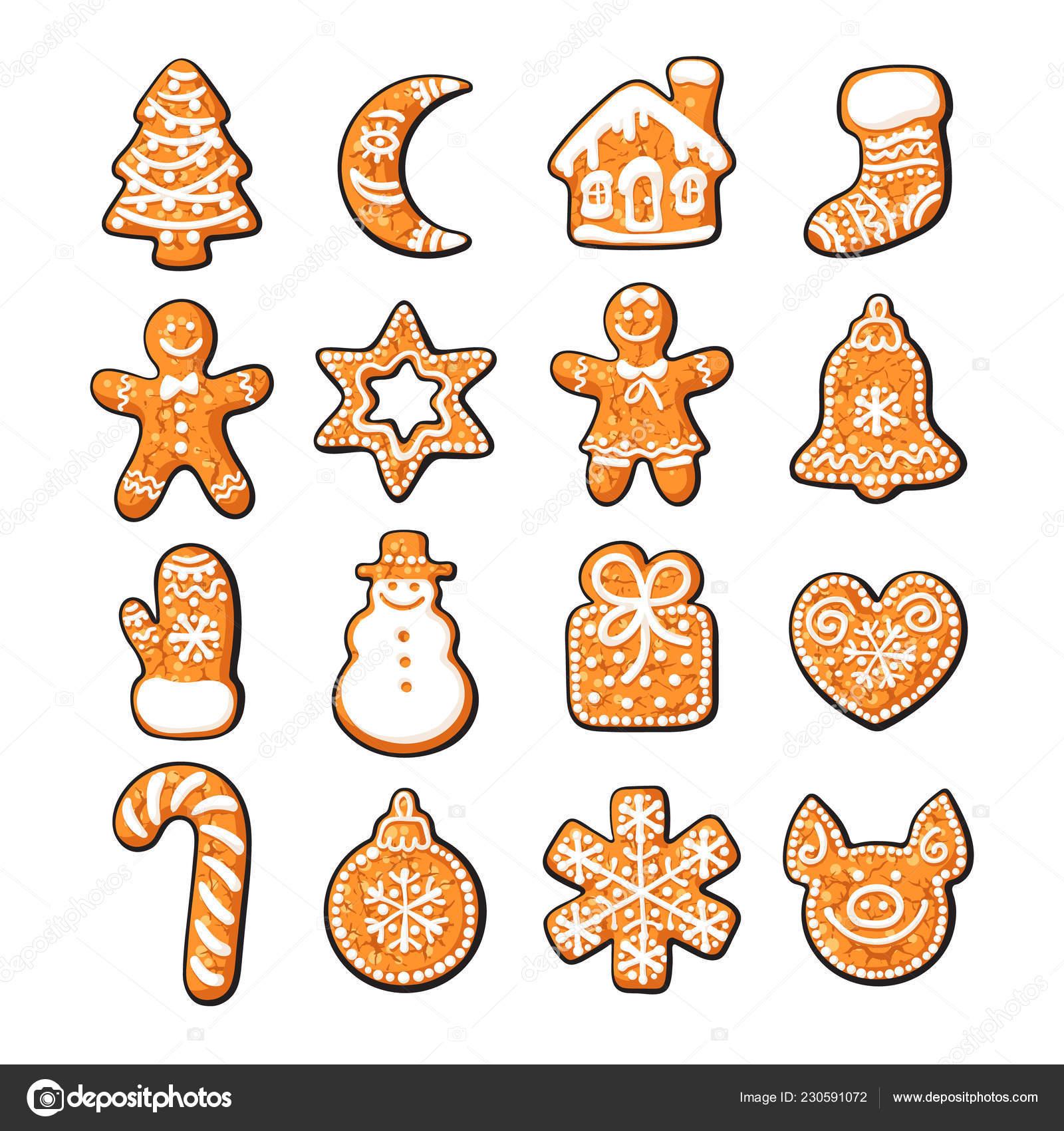 Weihnachtsgebäck Clipart.Satz Von Niedlichen Lebkuchen Weihnachtsgebäck Hand Gezeichnet