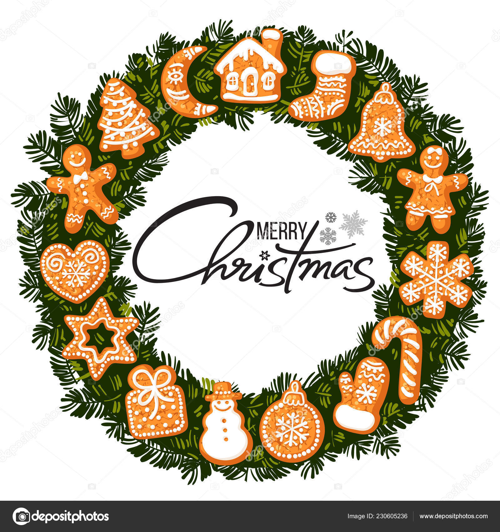 Merry Christmas Lettering In Center Of Wreath With Gingerbread