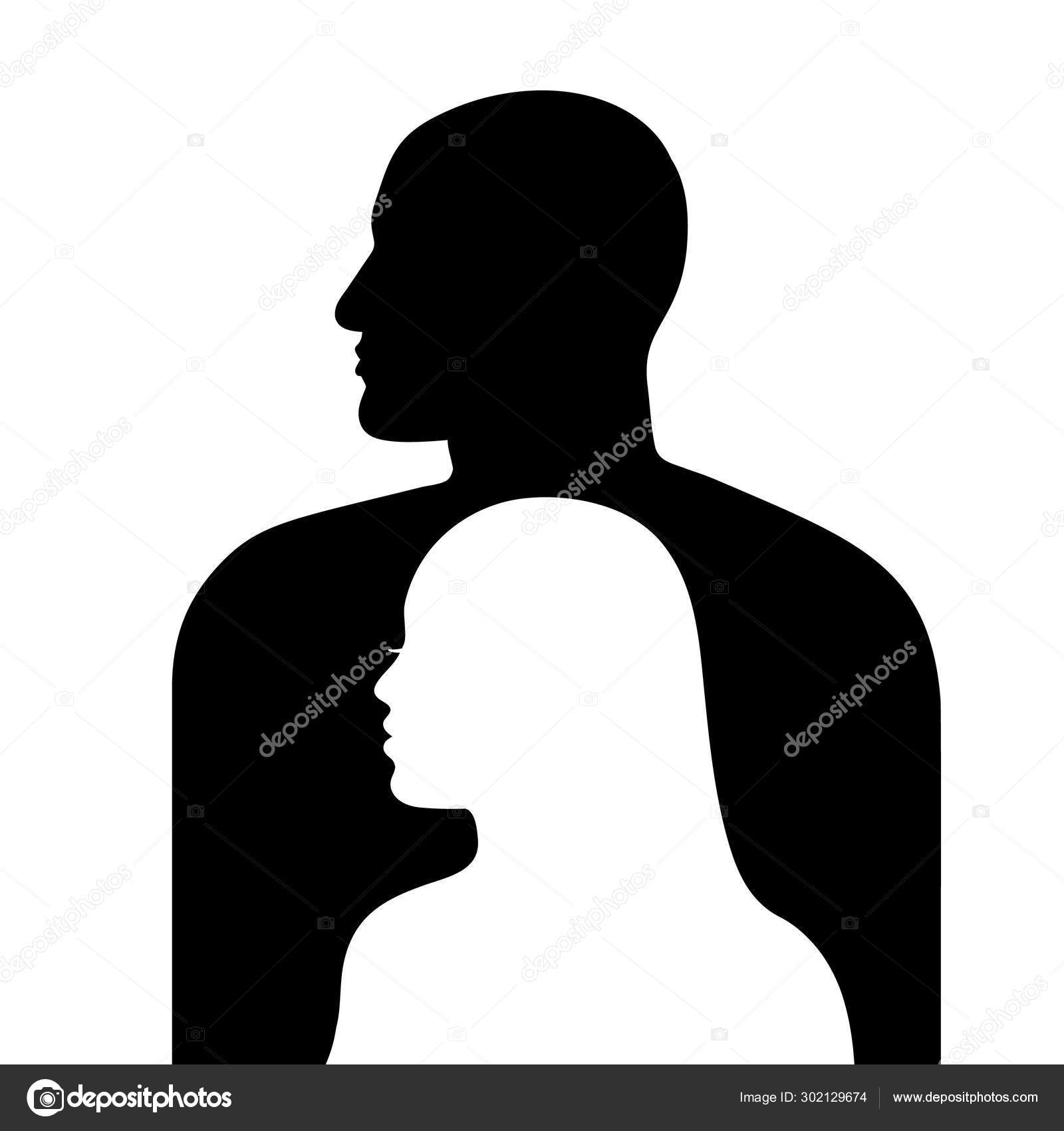 Female Face In Profile On A Background Of Male Face Silhouette Man And Woman Silhouettes Looking In Same Directions Vector Illustration Isolated On White Background Stock Vector C Uncleleo 302129674