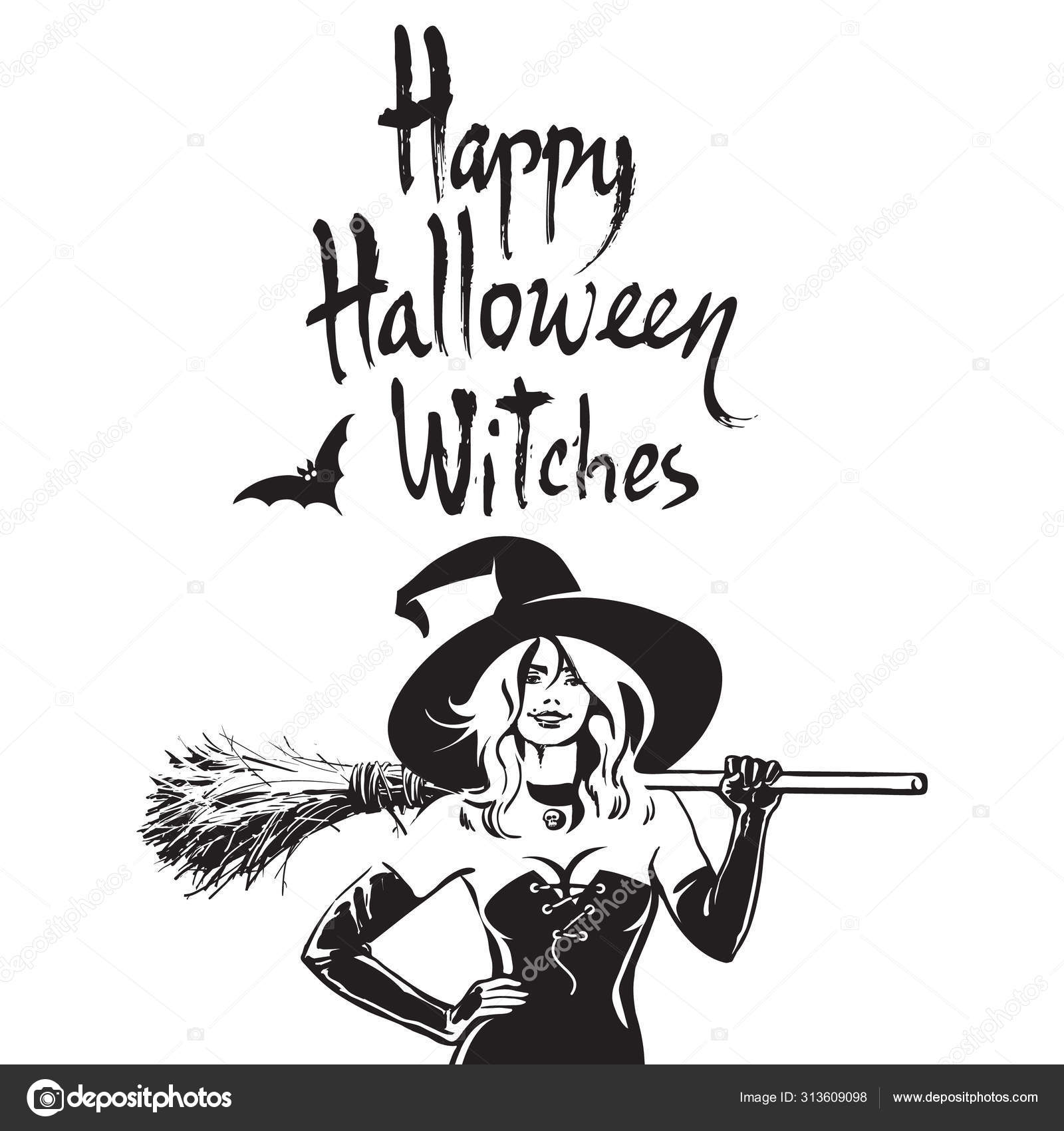 Beautiful Sexy Witch Holding Broomstick Happy Halloween Witches Funny Halloween Phrase Hand Drawn Brush Lettering Stock Vector C Uncleleo 313609098