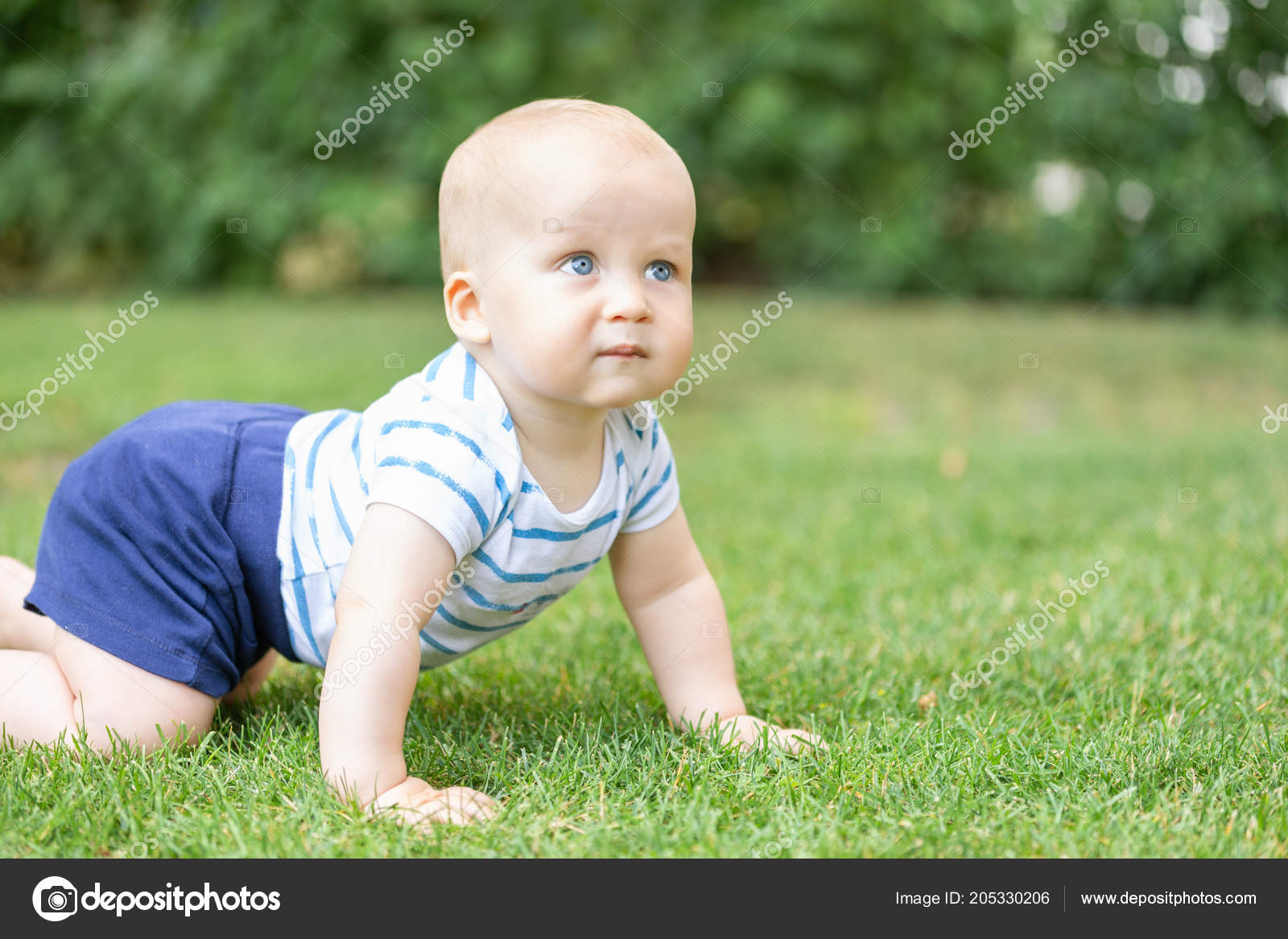 Portrait Of Cute Blond Pensive Baby Boy Crawling On Green Grass Lawn Outdoors Thoughtful Kid Thinking About Something Question Or Idea In Children Mind