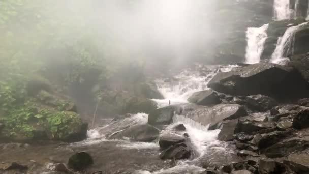 Krásný, silný vodopád v lese s ranní mlha. Ochozu bez lidí. Vodopád Shypit, Ukrajina, Karpaty