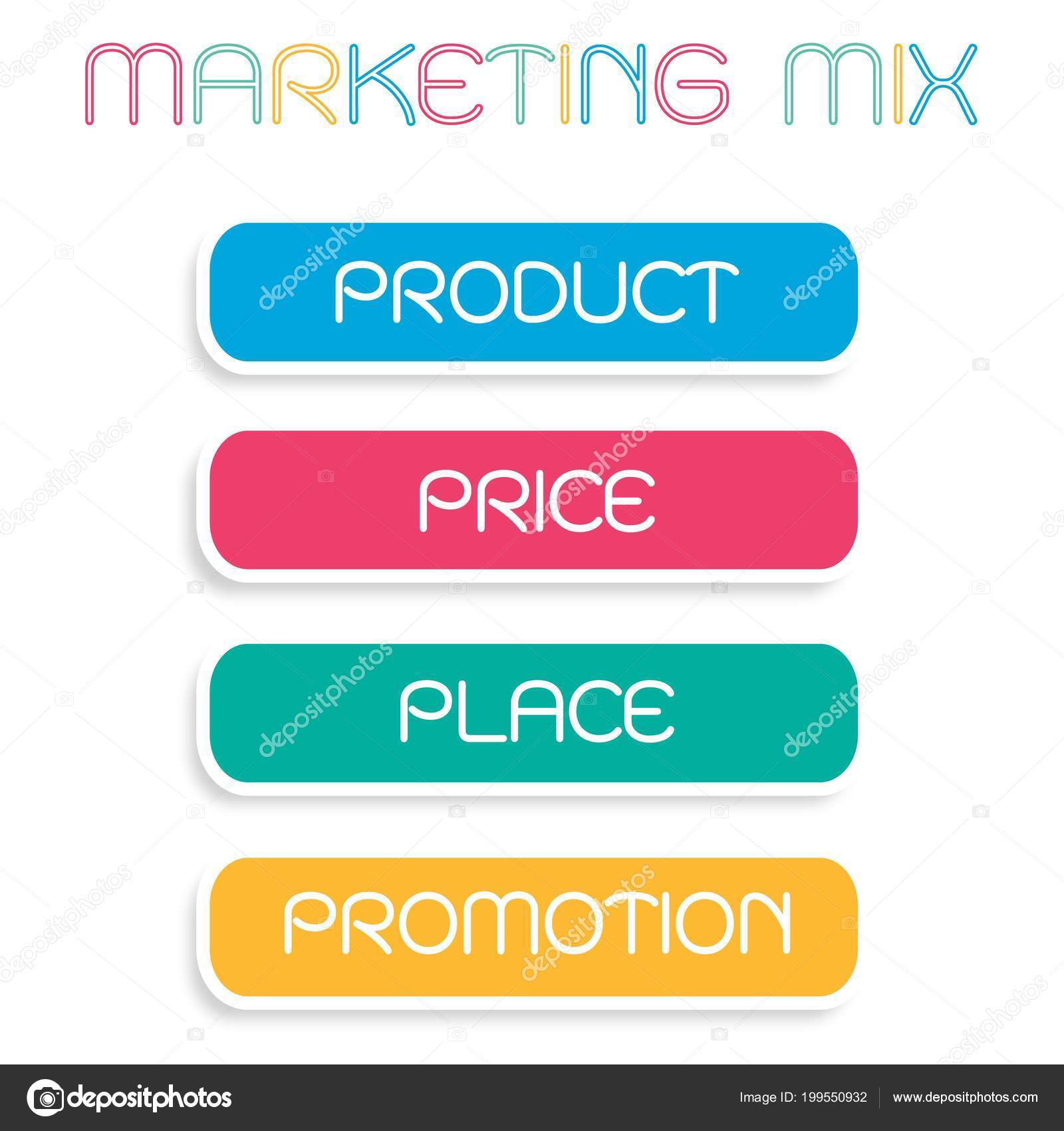 business concepts illustration marketing mix 4ps model management strategy diagram stock vector