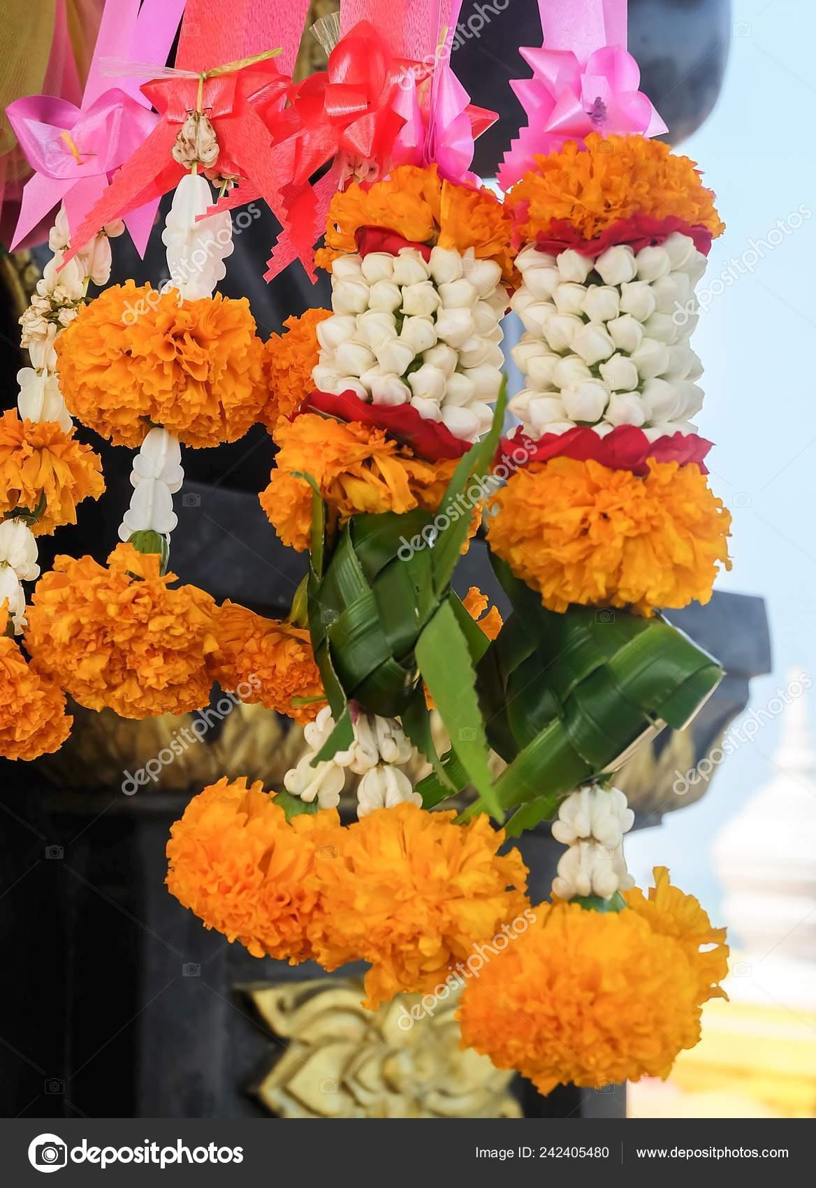 Beautiful Jasmine Wreaths Garlands Red Roses Blossoms Yellow Marigold Pink Stock Photo C Arayabandit 242405480
