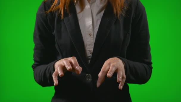 Office woman hands typing on imaginary display simulating work using futuristic holographic interface