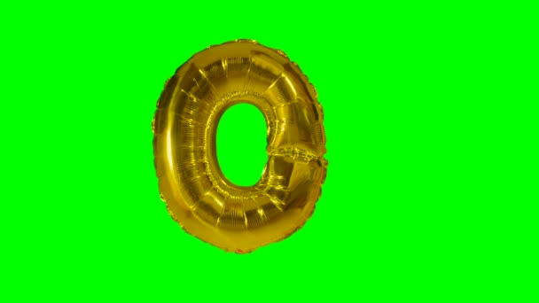 Big Letter O from alphabet helium gold balloon floating on green screen