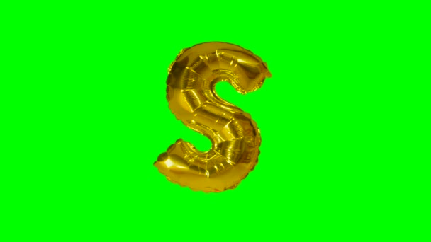 Big Letter S from alphabet helium gold balloon floating on green screen