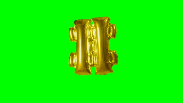 Big Sign symbol number hash pound from alphabet helium gold balloon floating on green screen