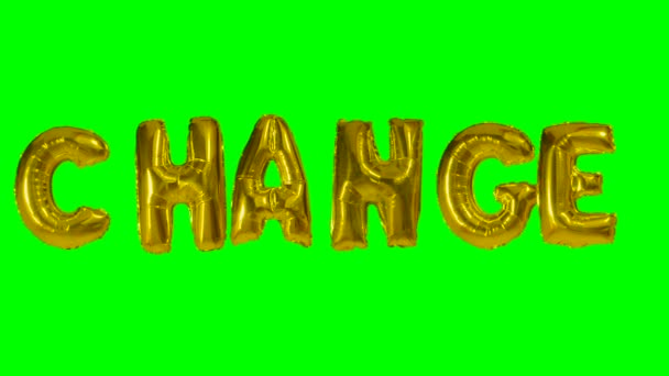 Word change from helium gold balloon letters floating on green screen