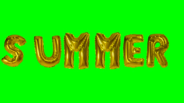 Word summer from helium gold balloon letters floating on green screen