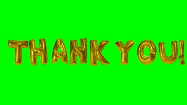Word thank you from helium gold balloon letters floating on green screen