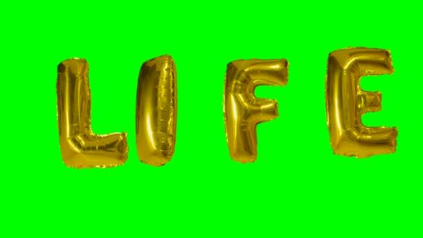 Slovo života od helium zlatá bublina dopisy plovoucí na zelené obrazovce