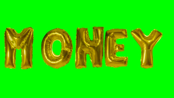 Word money from helium gold balloon letters floating on green screen
