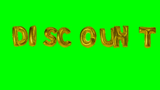 Word discount from helium gold balloon letters floating on green screen