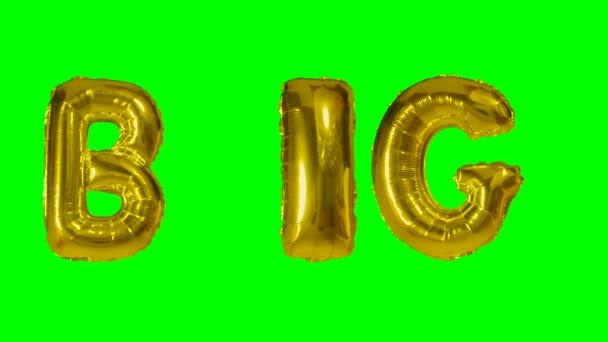 Word big from helium gold balloon letters floating on green screen