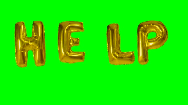 Word help from helium gold balloon letters floating on green screen