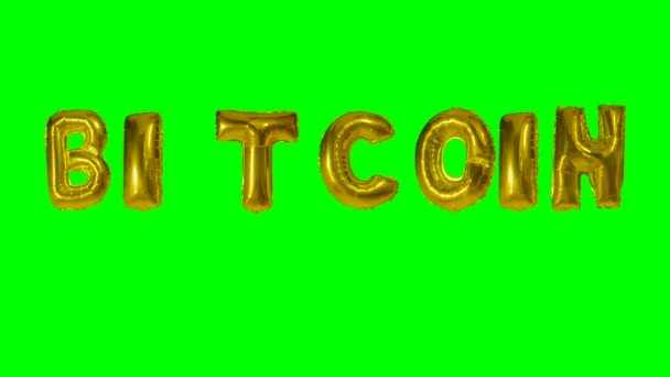 Word Bitcoin from golden helium balloon letters floating on green screen