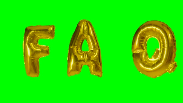 Word faq from helium gold balloon letters floating on green screen