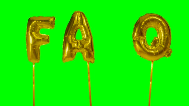 Word faq from helium golden balloon letters floating on green screen
