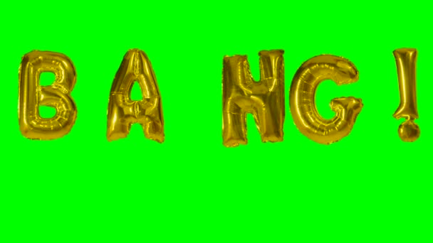 Word bang from helium gold balloon letters floating on green screen