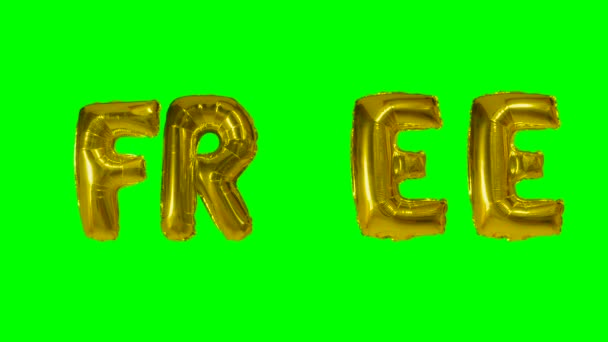Word free from helium gold balloon letters floating on green screen