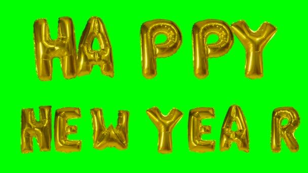 Pozdrav od helium zlatá bublina dopisy plovoucí na zelené obrazovce text slovo šťastný nový rok