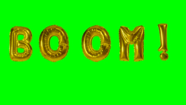 Word boom from helium gold balloon letters floating on green screen