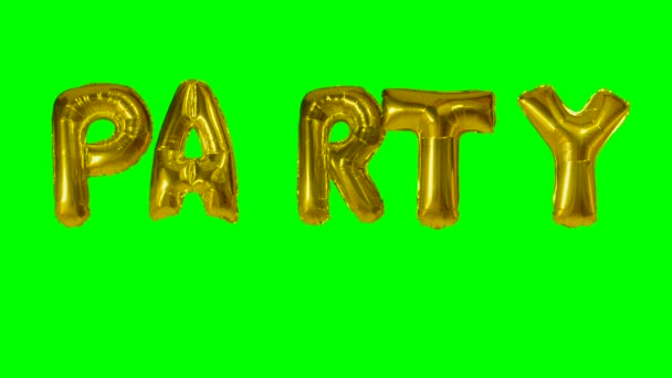 Word party from helium gold balloon letters floating on green screen