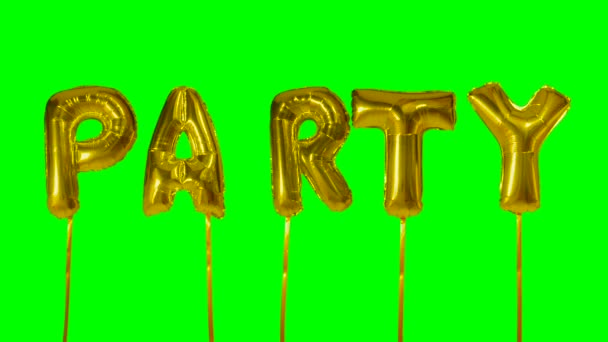 Word party from helium golden balloon letters floating on green screen
