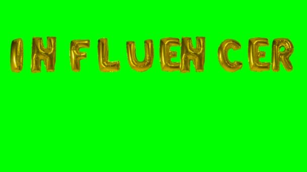 Slovo ovlivňovatel z helia zlatá bublina dopisy plovoucí na zelené obrazovce