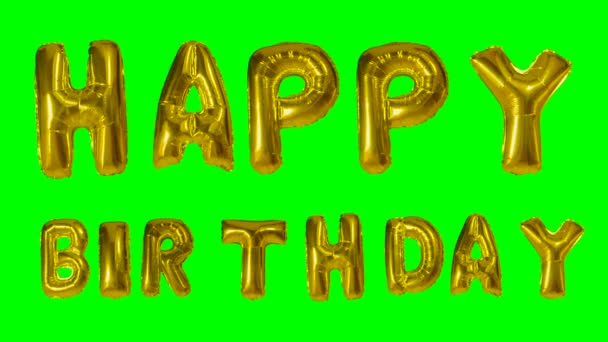 Word Happy Birthday from helium golden balloon letters floating on green screen