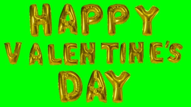Happy valentine den od helium zlatá bublina dopisy plovoucí na zelené obrazovce slovo