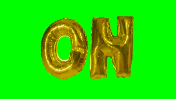 Word on from helium gold balloon letters floating on green screen