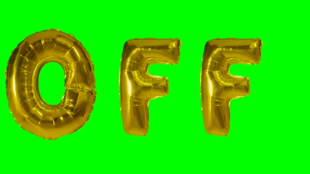 Word off from helium gold balloon letters floating on green screen