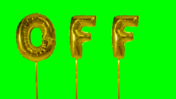 Word off from helium golden balloon letters floating on green screen