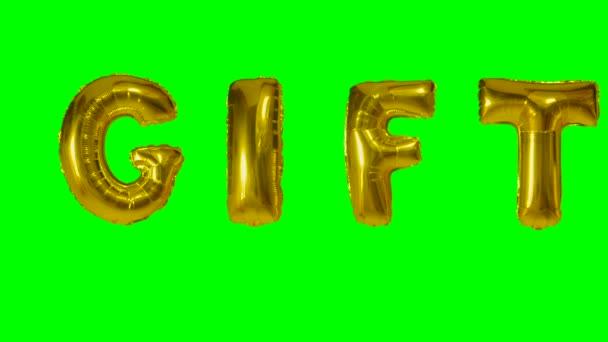 Slovo dárek od helium zlatá bublina dopisy plovoucí na zelené obrazovce