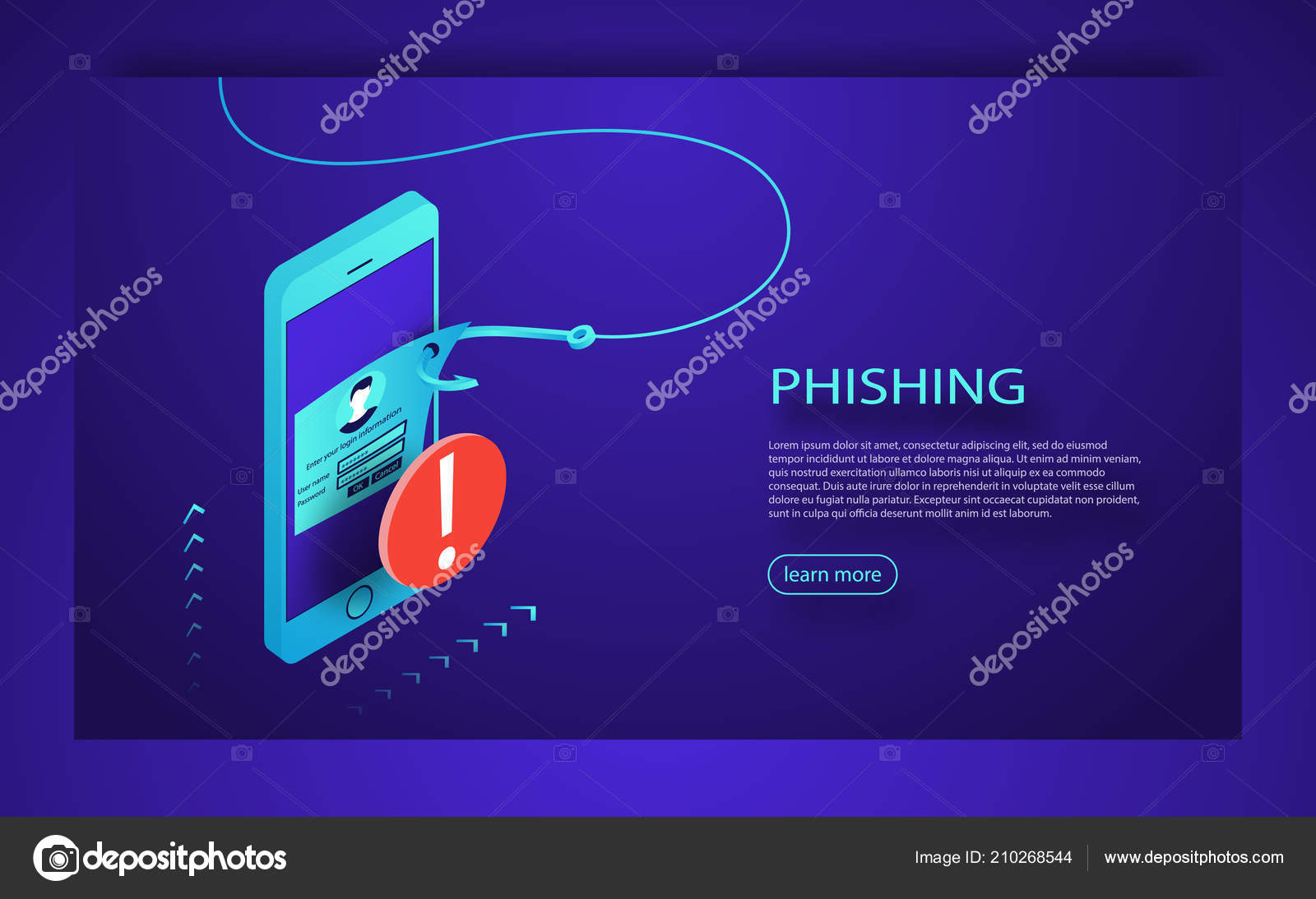 Internet phishing, hacked login and password  Phishing scam, hacker