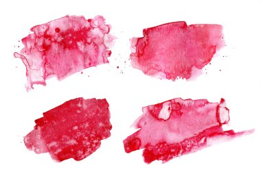 Four abstract red watercolors, isolated on white background.