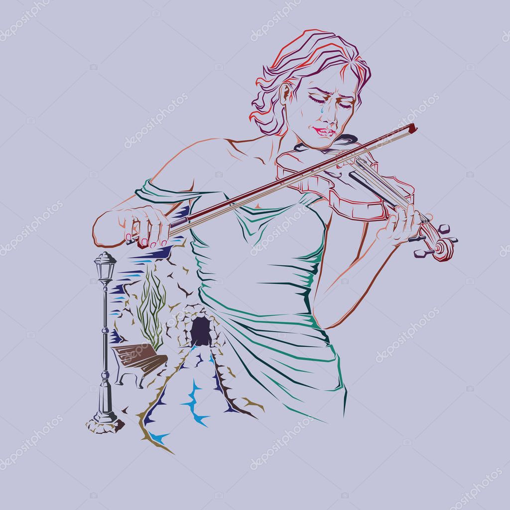 A lonely, sad girl plays the old violin. Vector graphics.