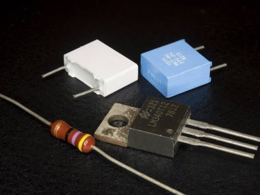 Electronic components in black background