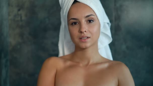 Young Attractive Model Portrait Shower Room She Looking Camera