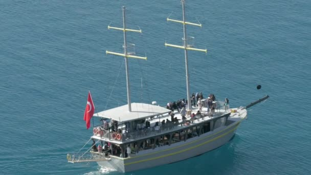 Turkish ship with tourists sailing in the sea