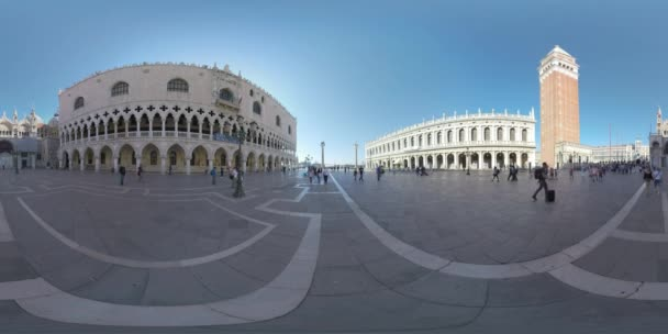 360 VR People visiting St. Marks Square as one the main city landmarks, Venice