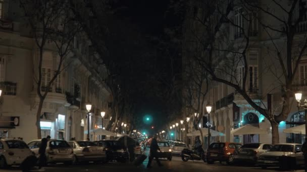 Night street lined with trees lanterns and parked cars. Valencia, Spain