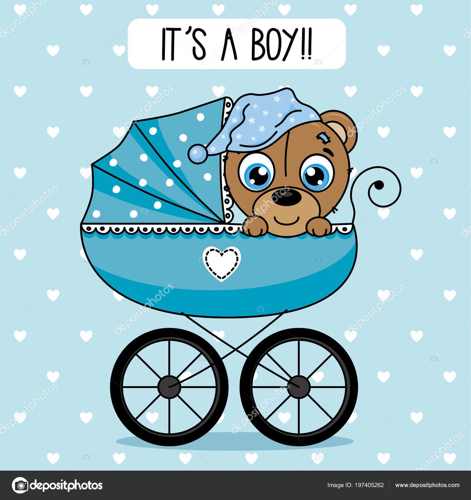 Baby Dusche Junge Tragen Inneren Baby Wagen — Stockvektor © sbego ...