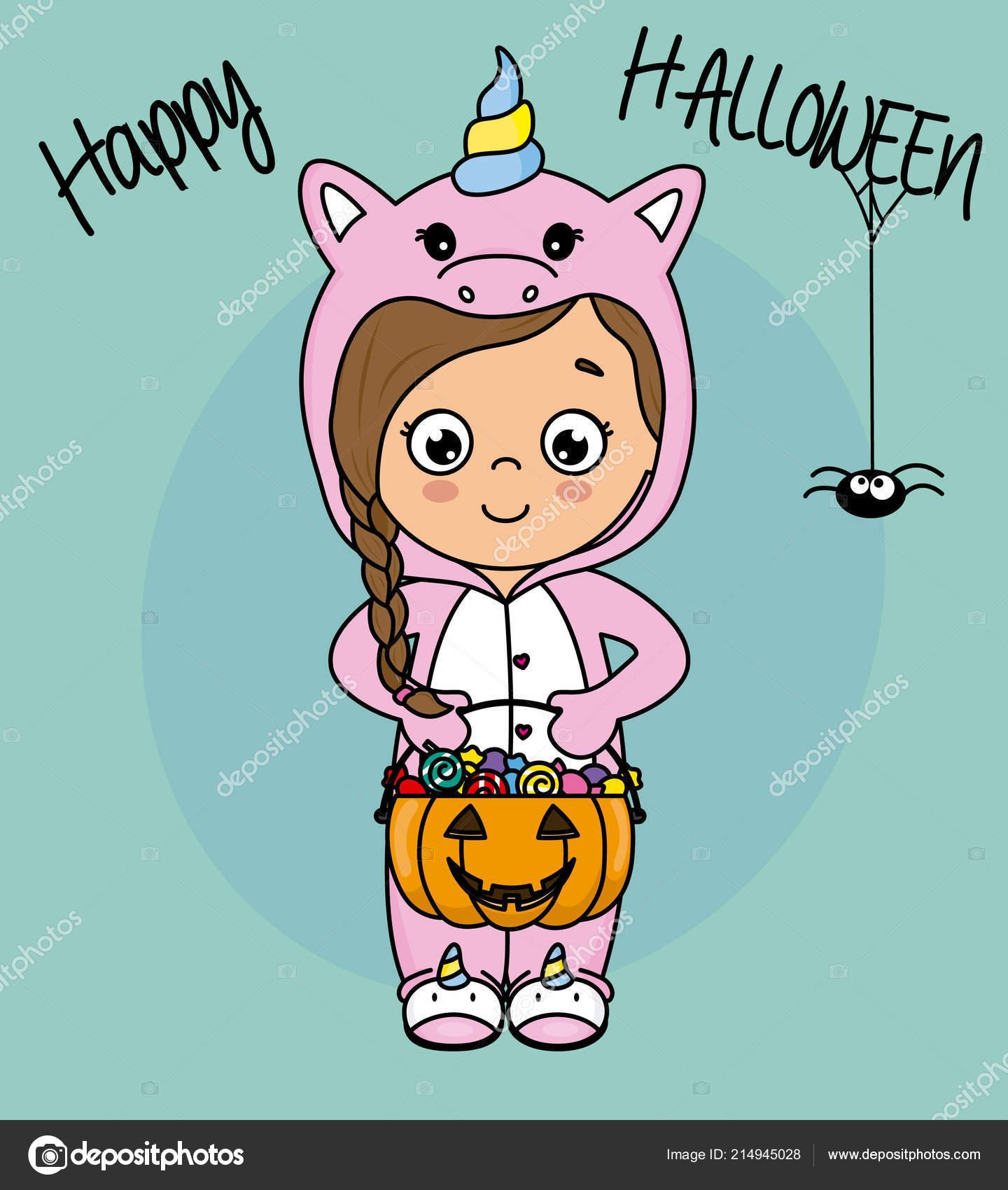 Happy Halloween Card Girl Dressed Unicorn Candy Stock