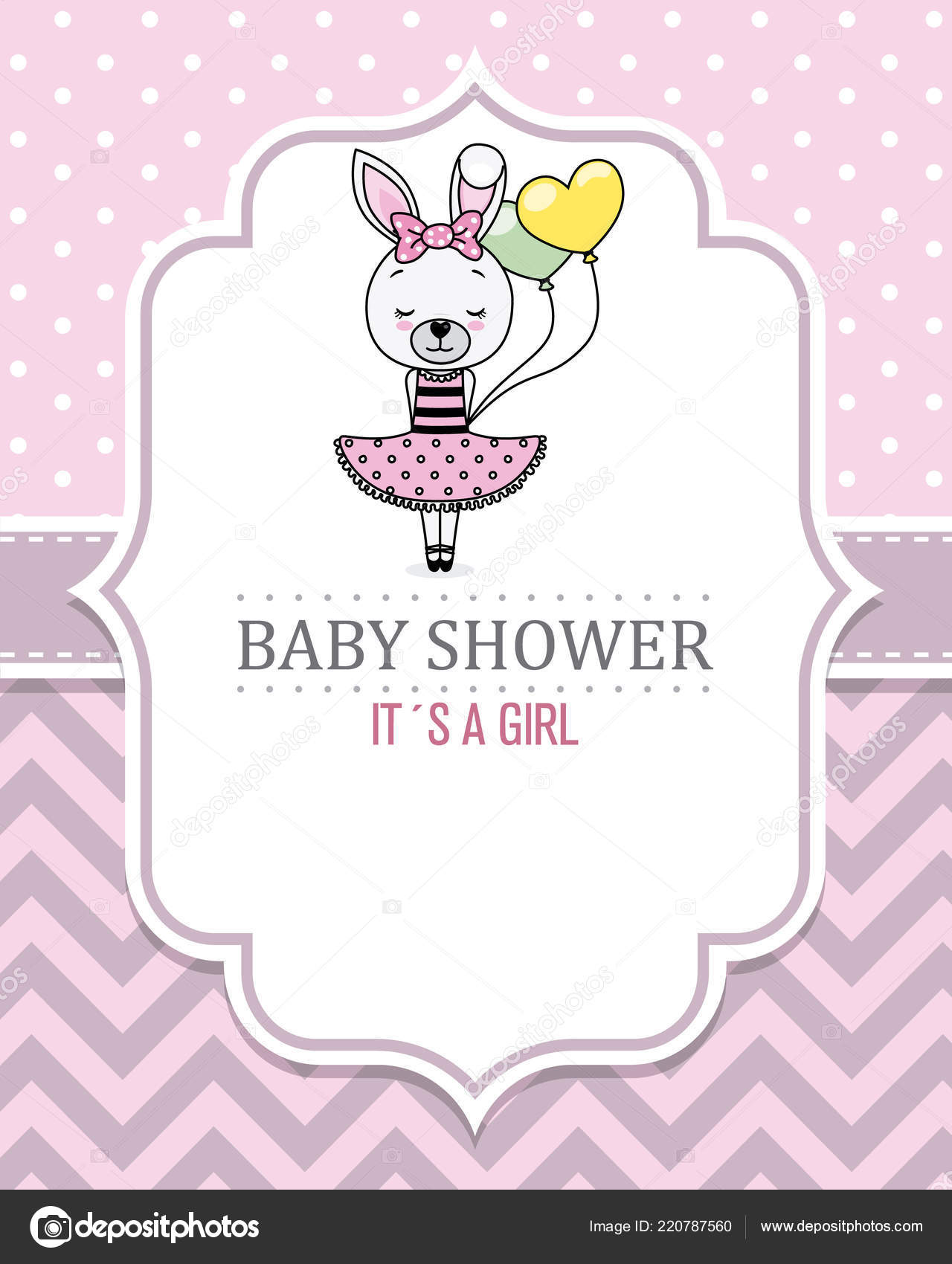 Baby Shower Karte Text.Baby Shower Card Girl Pretty Bunny Girl Space Text Stock
