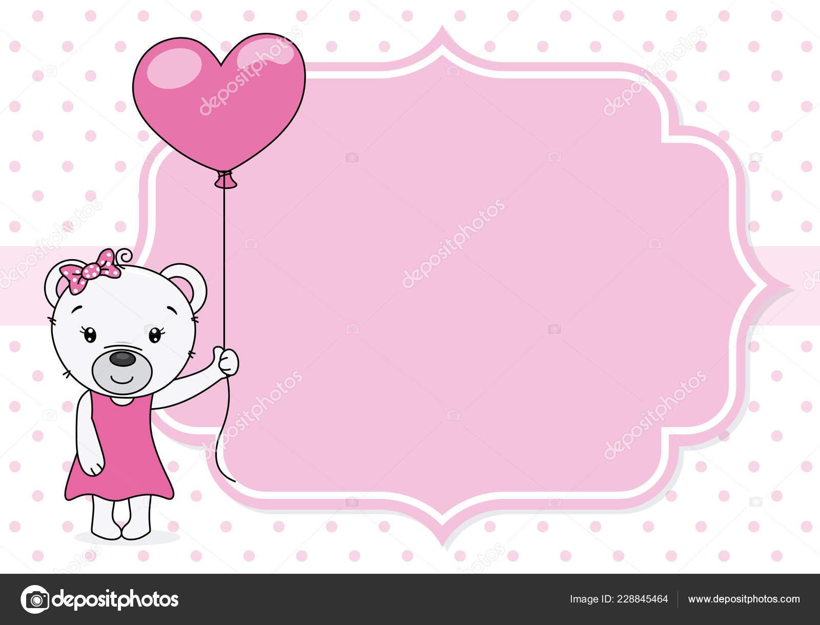 Carte Douche Bébé Fille Ours Mignon Avec Ballon Espace Pour