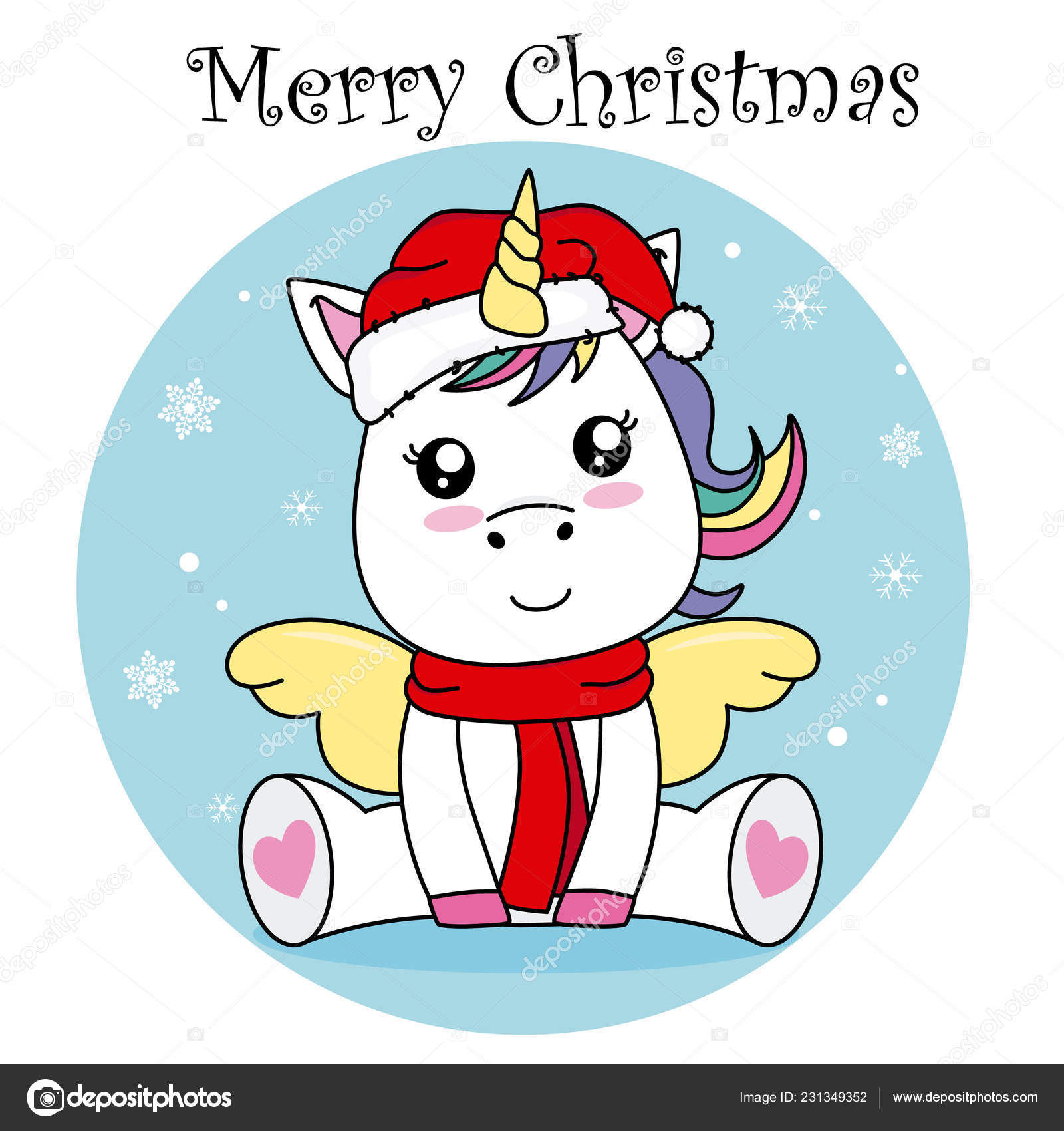 Merry Christmas Card Unicorn Santa Claus Hat Stock Vector C Sbego 231349352