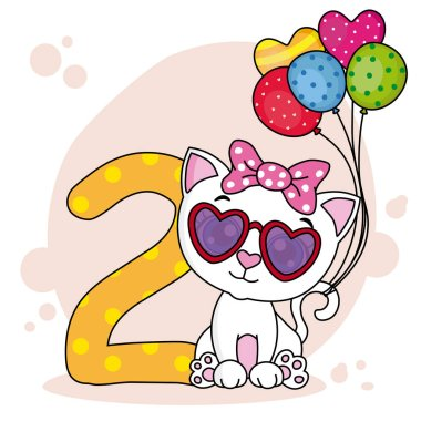 Cute cat with the number two Birthday party card